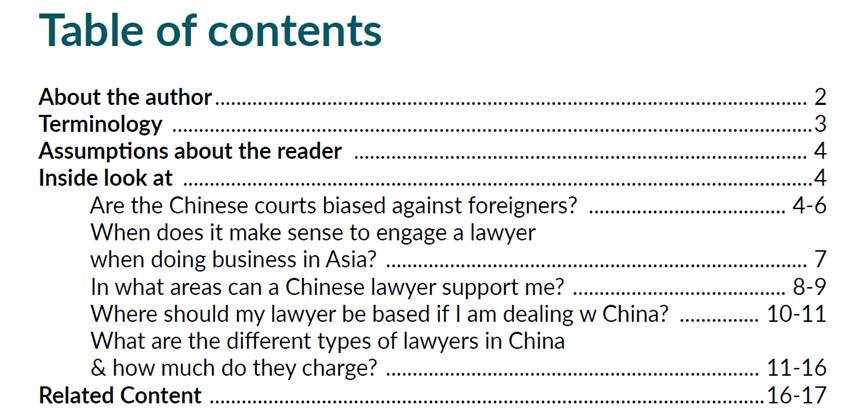 Table of Contents - whitepaper: insider's look at fees for legal services in China