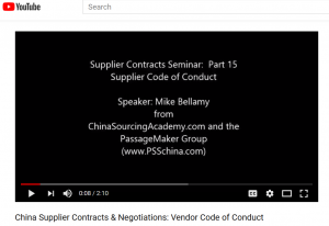 China Supplier Contracts & Negotiations:  Part 16: Supplier Codes of Conduct
