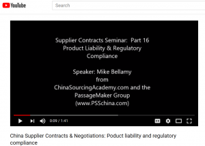 China Supplier Contracts & Negotiations: Part 15: Product Liability & Regulatory Compliance